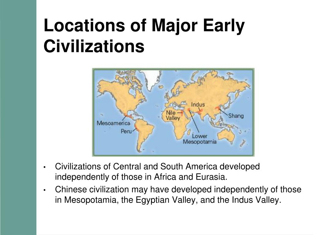 Locations of Major Early Civilizations