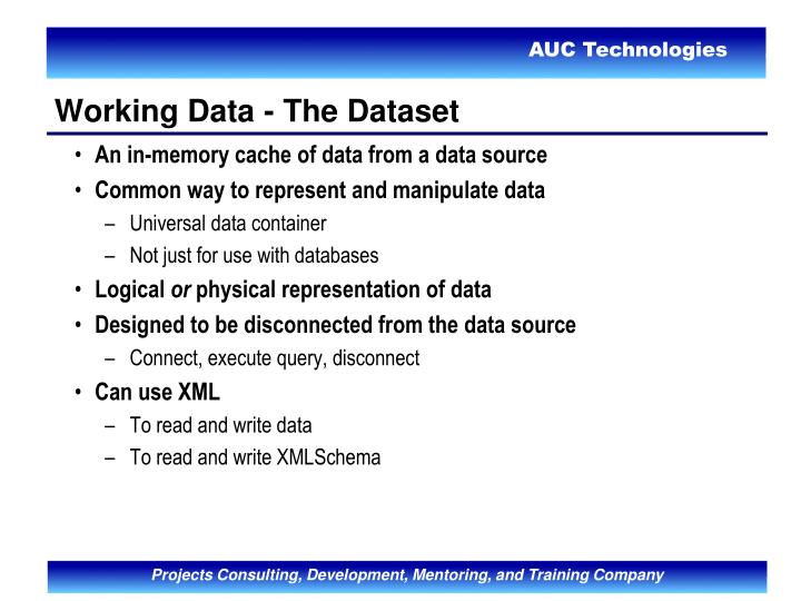 An in-memory cache of data from a data source