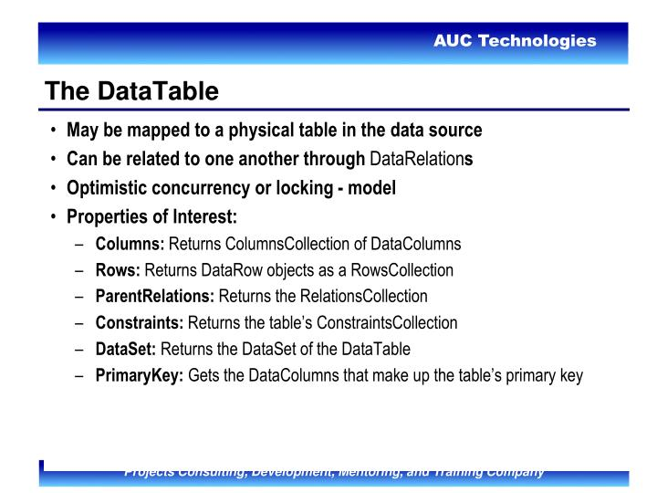 May be mapped to a physical table in the data source