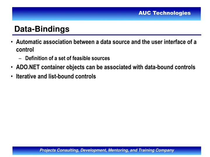 Automatic association between a data source and the user interface of a control