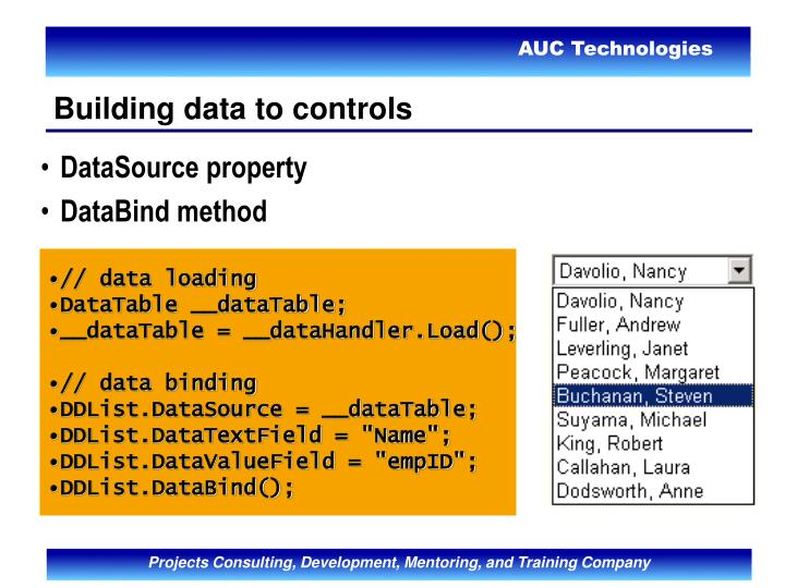 Building data to controls