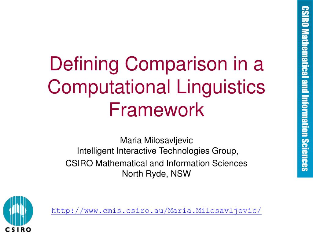 defining comparison in a computational linguistics framework l.