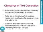 objectives of text generation