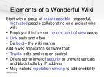 elements of a wonderful wiki