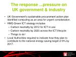 the response pressure on uk government industry