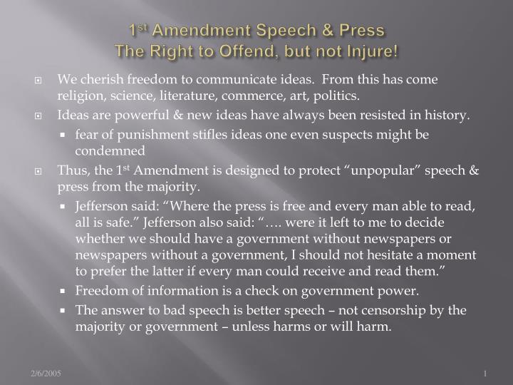1 st amendment speech press the right to offend but not injure n.