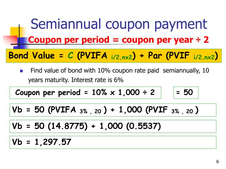 Semiannual coupon payment