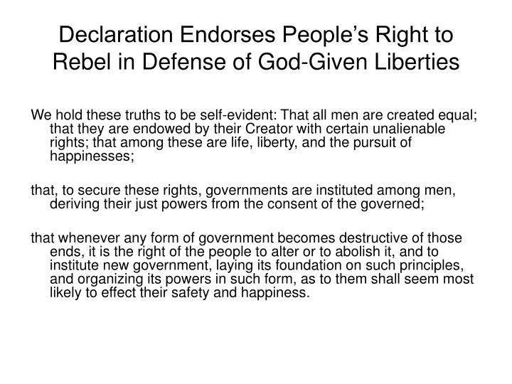 Declaration Endorses People's Right to Rebel in Defense of God-Given Liberties