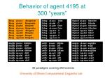 behavior of agent 4195 at 300 years