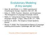 evolutionary modeling a tiny sample