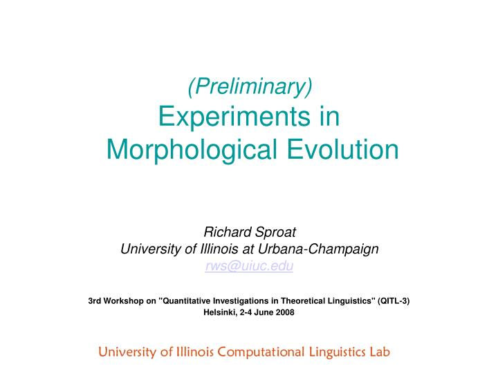 preliminary experiments in morphological evolution n.