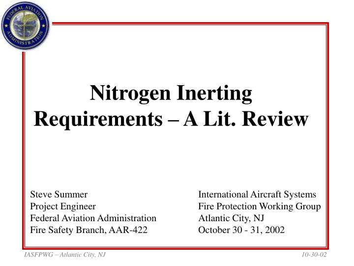 nitrogen inerting requirements a lit review n.