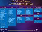 ehr selected programs currently supporting hbcus