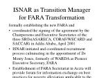 isnar as transition manager for fara transformation