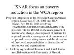 isnar focus on poverty reduction in the wca region