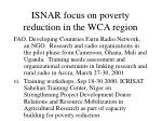 isnar focus on poverty reduction in the wca region1