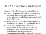 isnar s new focus on the poor