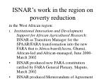 isnar s work in the region on poverty reduction