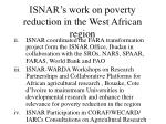 isnar s work on poverty reduction in the west african region