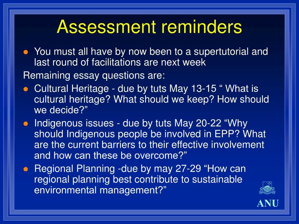 Assessment reminders