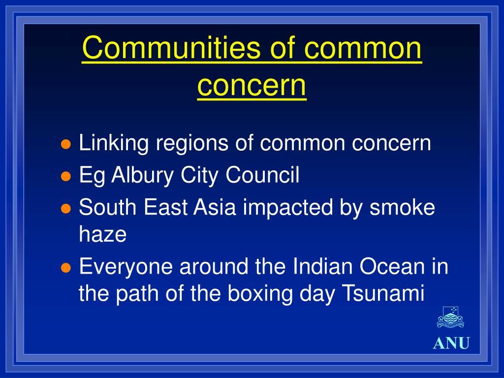 Communities of common concern