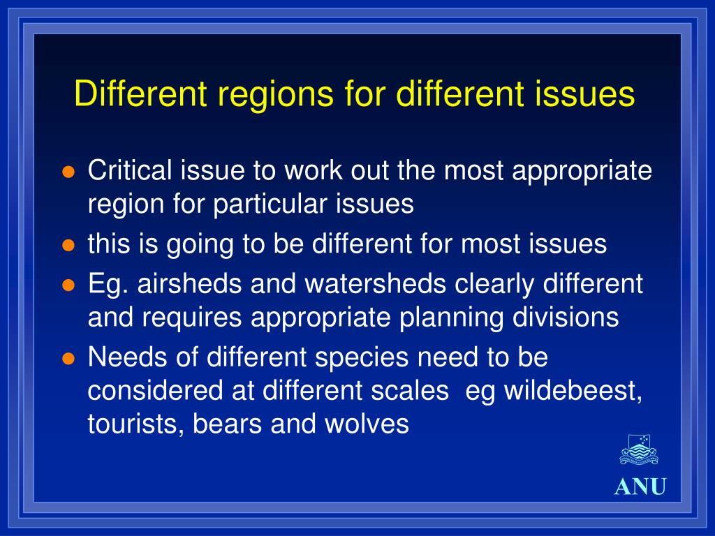 Different regions for different issues
