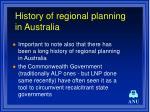 history of regional planning in australia