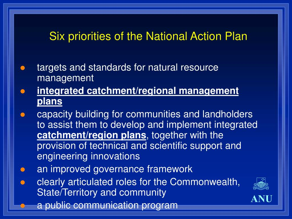 Six priorities of the National Action Plan