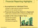 financial reporting highlights