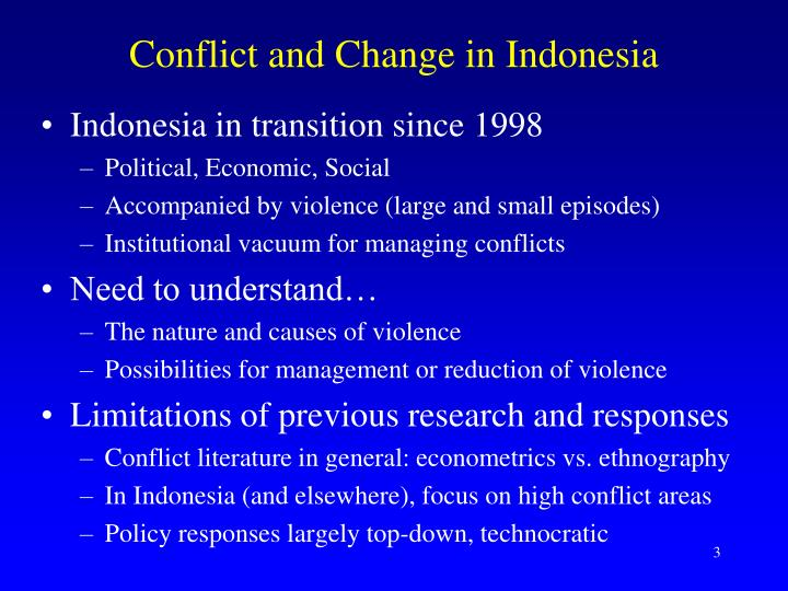 Conflict and change in indonesia