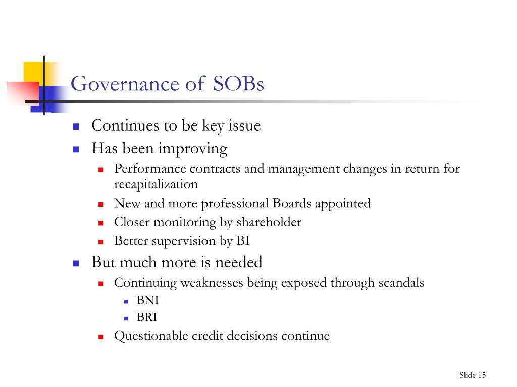 Governance of SOBs