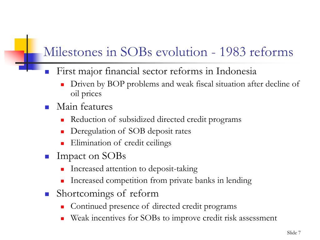 Milestones in SOBs evolution - 1983 reforms