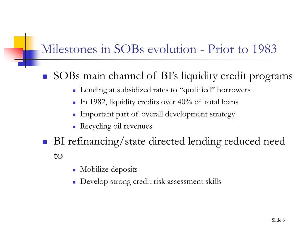 Milestones in SOBs evolution - Prior to 1983