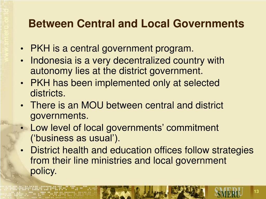 Between Central and Local Governments