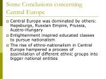 some conclusions concerning central europe