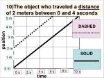 10 the object who traveled a distance of 2 meters between 0 and 4 seconds1