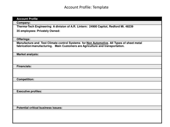 account profile template n.