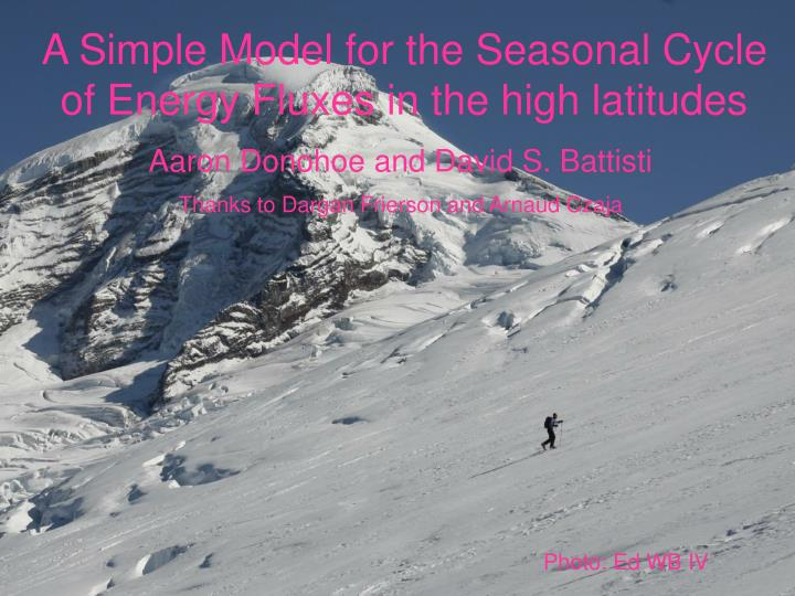 a simple model for the seasonal cycle of energy fluxes in the high latitudes n.