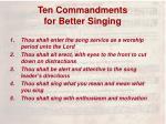 ten commandments for better singing