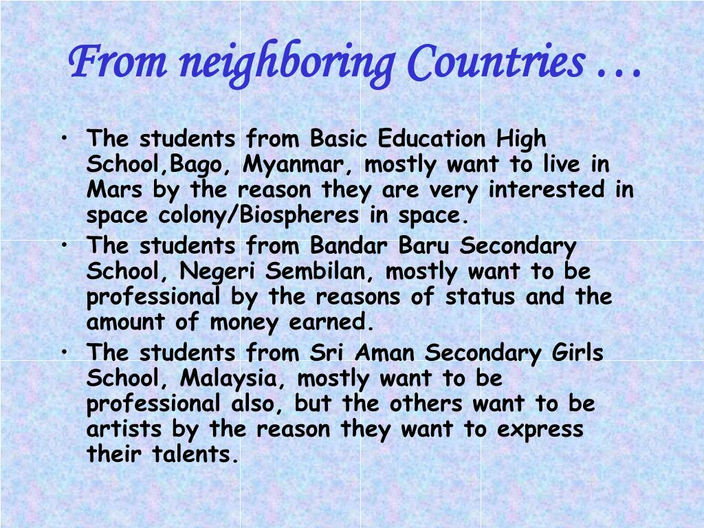 From neighboring Countries …