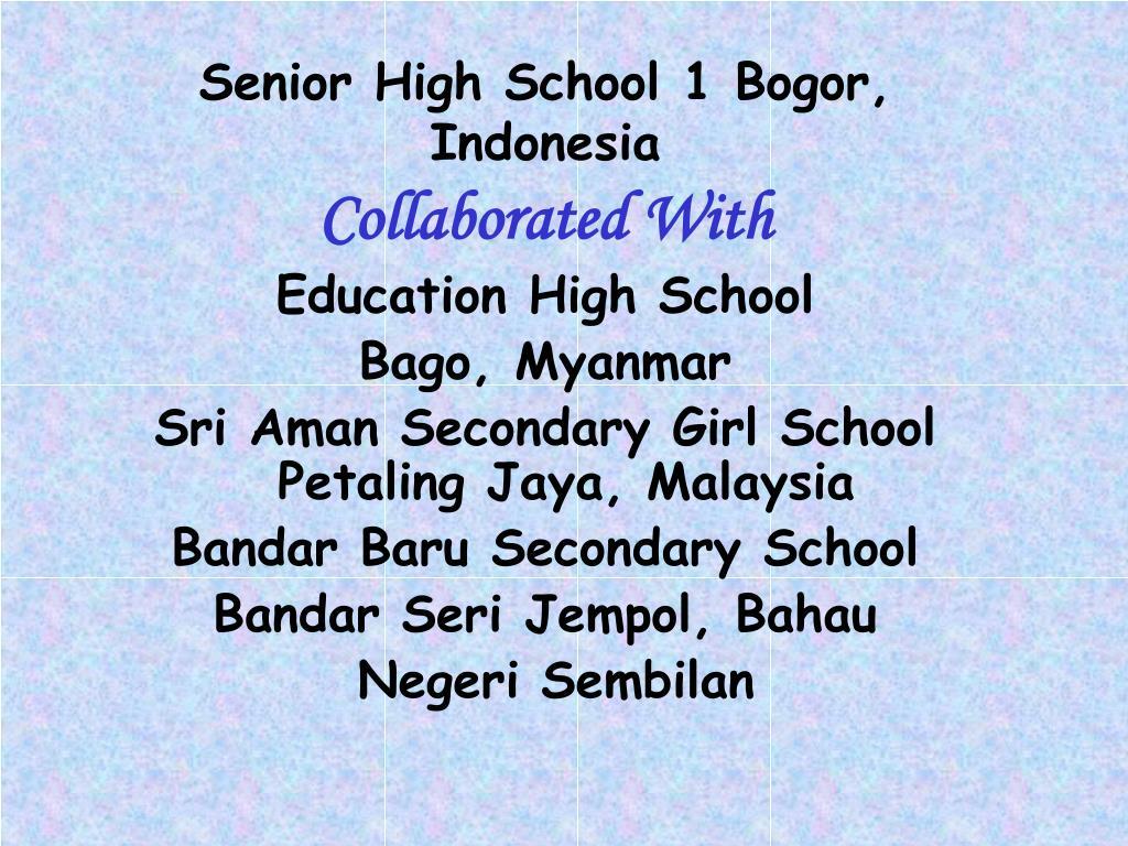 senior high school 1 bogor indonesia l.