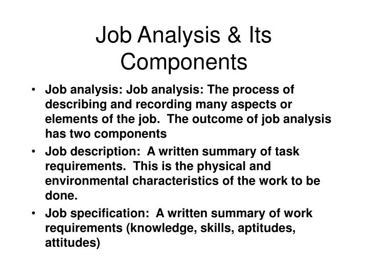 job analysis its components n.