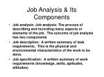 job analysis its components