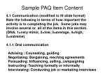 sample paq item content