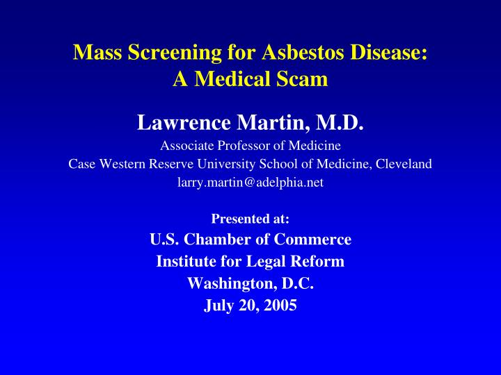mass screening for asbestos disease a medical scam n.