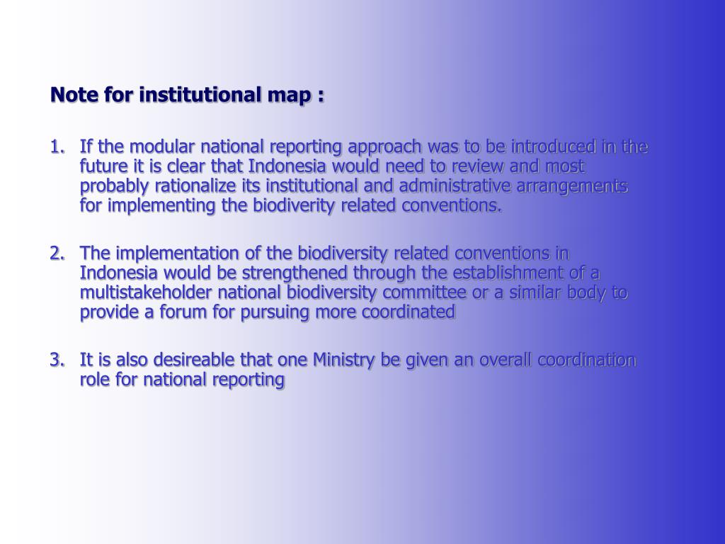 Note for institutional map :