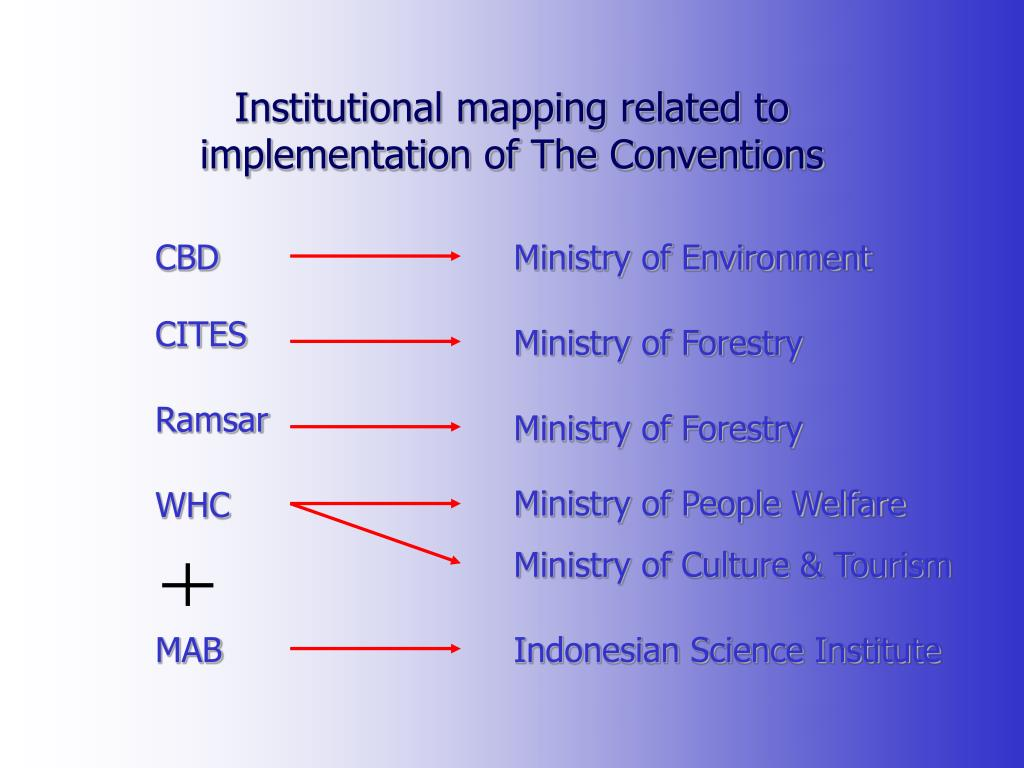 Institutional mapping related to implementation of The Conventions