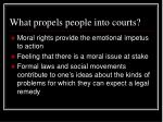 what propels people into courts
