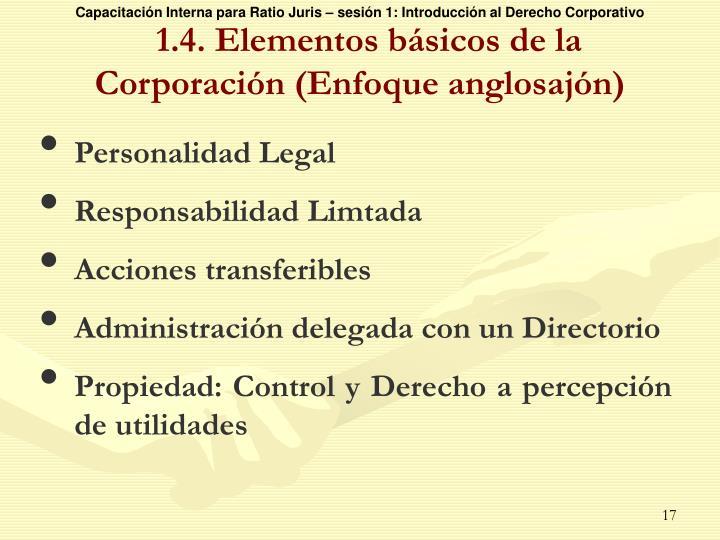 1.4. Elementos básicos de la Corporación (Enfoque anglosajón)