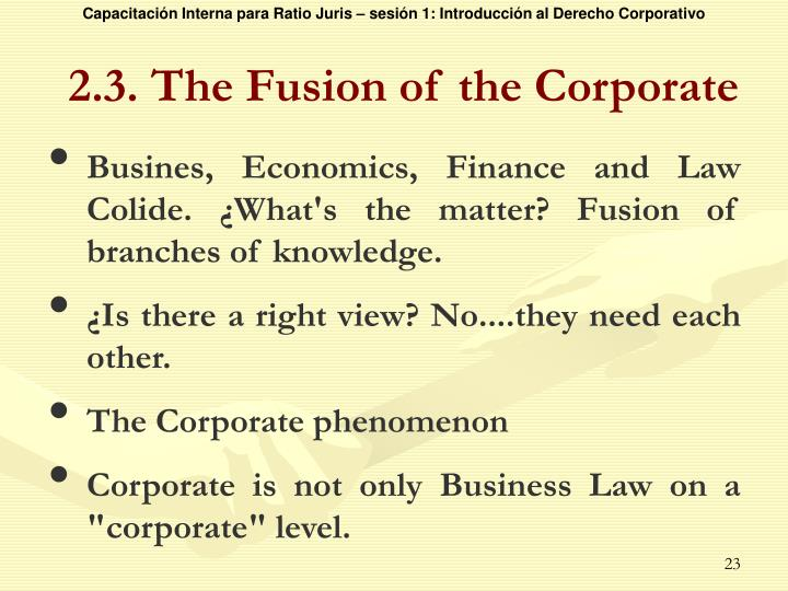 2.3. The Fusion of the Corporate
